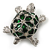Cute Green Enamel Crystal Turtle Brooch (Rhodium Plated)