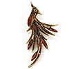 Sparkling Amber Crystal Fire-Bird Brooch (Antique Gold Tone)