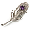 Large Swarovski Crystal Peacock Feather Silver Tone Brooch (Clear & Purple) - 11.5cm Length