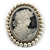 Classic Pearl Cameo Brooch (Silver Tone)