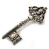 Burn Silver Vintage Cameo Key Brooch