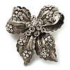 Small Vintage Diamante Bow Brooch (Burn Silver Finish)