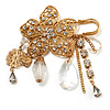 'Filigree Flower, Crystal Tassel & Acrylic Bead' Charm Safety Pin Brooch (Gold Tone)