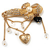 'Simulated Pearl Flower, Heart & Acrylic Bead' Charm Safety Pin Brooch (Gold Tone)