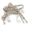 'Filigree Flower, Crystal Tassel & Acrylic Bead' Charm Safety Pin Brooch (Silver Tone)