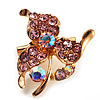 Tiny Light Pink Crystal Clover Pin Brooch (Gold Tone)