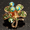 Tiny Light Green Crystal Clover Pin Brooch (Gold Tone)