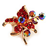 Tiny Red Crystal Flower Pin Brooch (Gold Tone)