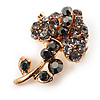 Tiny Black Crystal Calla Lily Pin Brooch (Gold Tone)