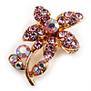 Tiny Light Pink Crystal Floral Pin Brooch (Gold Tone)