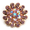 Tiny Light Pink Crystal Daisy Pin Brooch (Gold Tone)