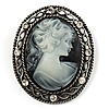 Vintage Antique Silver Crystal Cameo Brooch