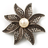 Antique Silver Pearl Crystal Flower Brooch