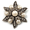 Vintage Filigree Imitation Pearl Crystal Floral Brooch