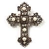 Large Victorian Filigree Imitation Pearl Crystal Cross Brooch (Antique Silver)