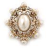 Antique Gold Filigree Light Cream Simulated Pearl Corsage Brooch - 60mm L