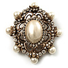 Antique Gold Filigree Light Cream Simulated Pearl Corsage Brooch