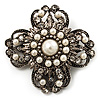 Vintage Filigree Pearl Cross Brooch (Antique Silver)