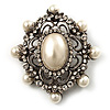 Antique Silver Filigree Ivory Pearl Corsage Brooch