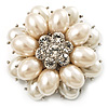 Bridal Imitation Pearl Dimensional Flower Brooch (Silver Tone)