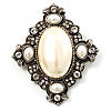 Vintage Oval Pearl Diamante Brooch (Antique Silver)