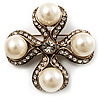 Vintage Imitation Pearl Crystal Cross Brooch (Antique Gold)