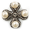 Vintage Pearl Style Crystal Cross Brooch (Antique Silver)
