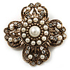 Vintage Filigree Pearl Cross Brooch (Antique Gold)