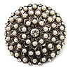Vintage Simulated Pearl Dome Shape Brooch (Antique Silver)