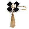 Crystal Tassel Silk Bow Safety Pin Brooch (Gold Plated )