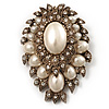 Oversized Vintage Corsage Pearl Style Brooch (Antique Gold)