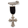 Medal Style Diamante Cross Charm Brooch (Silver Tone)