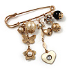 'Heart, Butterfly, Flower & Bead' Charm Safety Pin (Gold Tone)