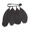 Black Feather Charm Safety Pin Brooch (Catwalk - 2013)