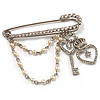 'Heart, Crown, Key & Simulated Pearl Chain' Charm Diamante Safety Pin Brooch (Silver Tone)