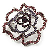 Stunning Purple Crystal Rose Brooch (Silver Tone)