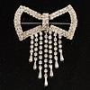 Enchanting Square Diamante Bow Charm Brooch (Silver Tone)