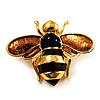 Gold Plated Bee Pin (Black & Light Brown)