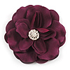 Large Violet Purple Crystal Satin Flower Brooch