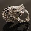 Crystal 'Panda Bear' Brooch (Silver Tone Metal)