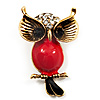 Vintage Enamel Diamante Owl Brooch (Antique Gold Metal)