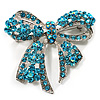 Stunning Light Blue Swarovski Crystal Bow Brooch (Silver Tone)