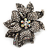 Large Diamante Floral Corsage Brooch (Antique Silver Tone)