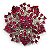Victorian Corsage Flower Brooch (Silver &amp; Bright Magenta)