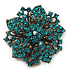 Victorian Corsage Flower Brooch (Antique Gold & Teal) [B01662]]