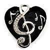 Black Enamel Crystal &#039;Musical Heart&#039; Brooch (Silver Tone Metal)