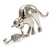 Rhodium Plated Cat & Mouse Brooch