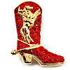 Gold Tone Red Austrian Crystal 'Cowboy Boot' Brooch - 40mm L