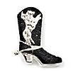 Silver Black 'Crystal Cowboy Boot' Brooch