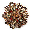 Diamante Enamel Floral Vintage Brooch (Gold Tone Metal)